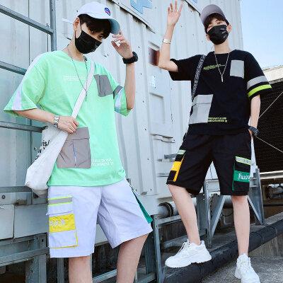 短袖T恤运动套装夏季休闲宽松帅气半袖两件套T012 P85