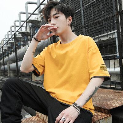 日系短袖T恤夏季休闲港风文艺五分袖宽松韩版半袖