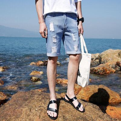 牛仔短裤男士夏季薄款五分裤男5分马裤夏天修身韩版破洞中裤裤子
