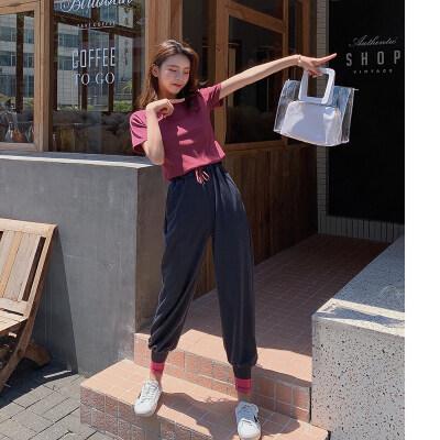 显瘦纯色短袖T恤+松紧腰拼色束脚哈伦休闲裤洋气两件套套装女