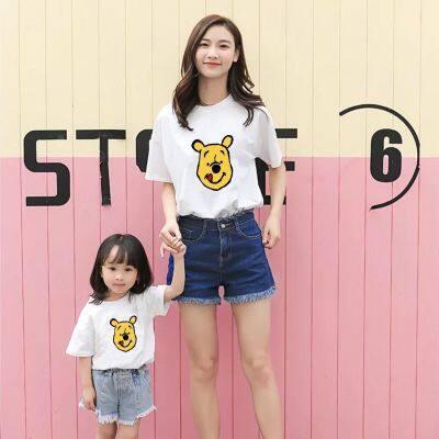 小熊维尼纯棉亲子装短袖T恤夏装新款男士韩版圆领印花打底衫潮