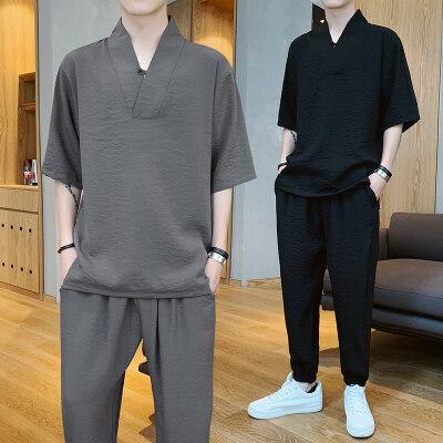 中国风亚麻短袖男潮牌复古风中式唐装汉服中袖上衣棉麻胖子衬衫男