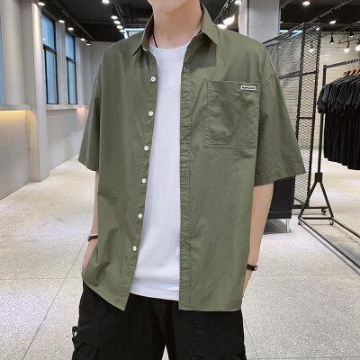 夏季2019新款短袖衬衫宽松薄款休闲衬衣男士韩版潮流帅气半袖