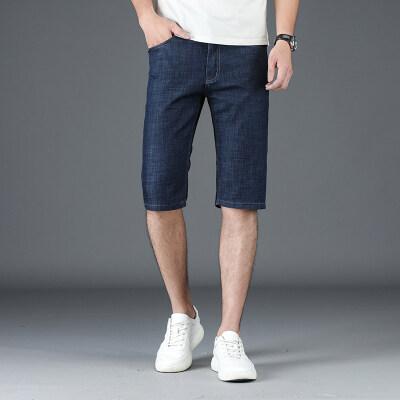 2019夏季新款商务中裤纯色水洗牛仔裤