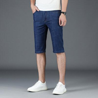 2019新款夏季五分裤牛仔裤冰丝直筒商务中裤