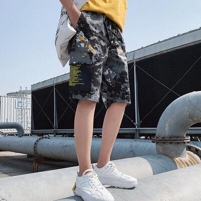 短裤2019款迷彩五分裤韩版潮流休闲裤港风中裤宽松运动沙滩裤