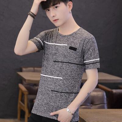 2021夏季新品男士T恤短袖韩版圆领纯棉半袖体恤潮牌