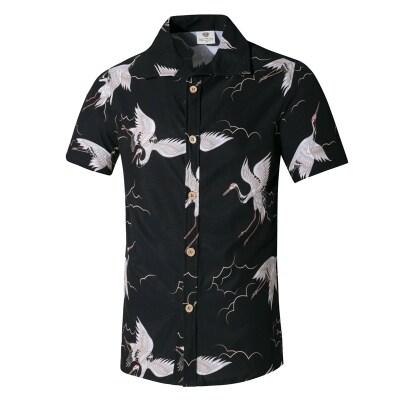男沙滩衬衫四面弹印花短袖衬衫男冲浪休闲宽松上衣一件代发直销