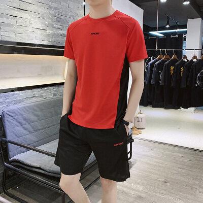 夏季短袖t恤男士套装2019新款休闲运动潮牌男装速干衣健身服