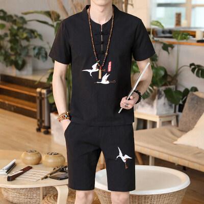 T恤男短袖2019夏季中国风刺绣亚麻棉麻套装韩版男装