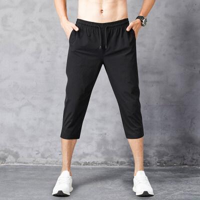 2020夏季休闲运动七分裤男超薄款四面弹力速干宽松7分短裤子