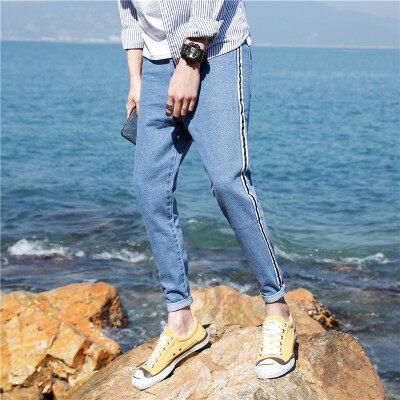 牛仔裤男士裤子纯色夏季韩版潮流修身小脚休闲薄款潮牌九分裤男装