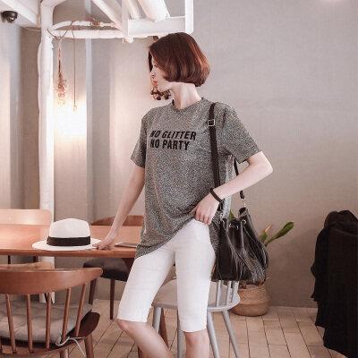 大码女装亮丝韩版宽松短袖T恤女