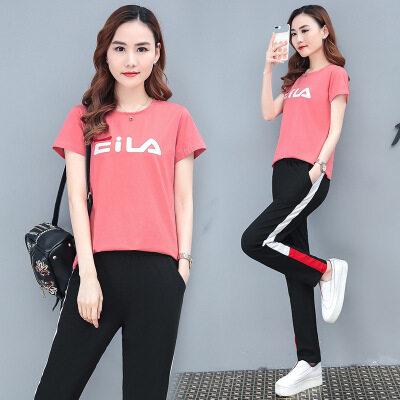 图荣95棉夏季休闲套装女韩版时尚字母印花短袖长裤两件套一件代发