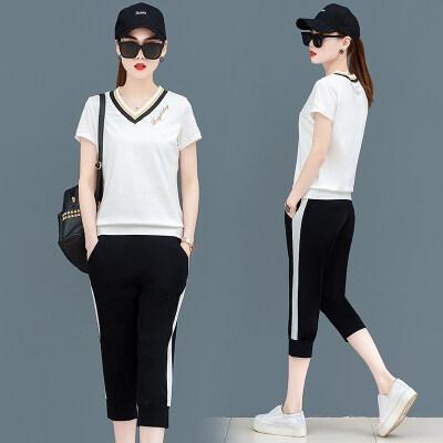 圣图拉蒂2019夏季新款女装短袖套装女士运动套装七分裤