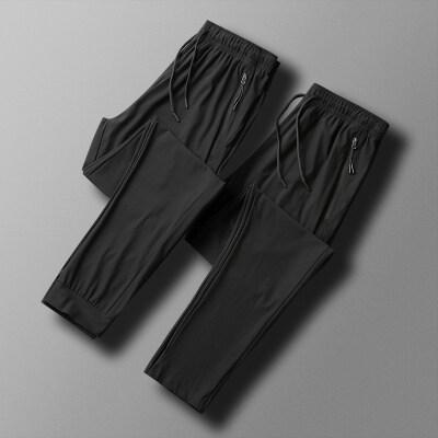空调裤男士裤子夏季超薄款透气冰丝滑休闲裤九分运动裤束脚速干裤