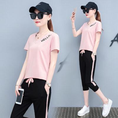 运动套装女新款休闲两件套时尚韩版宽松七分裤运动服