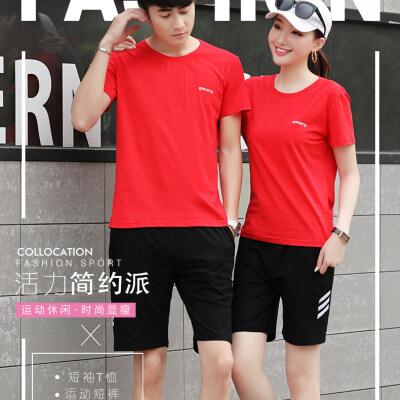 情侣运动套装女夏季短袖短裤男大码T恤五分裤跑步男女休闲两件套