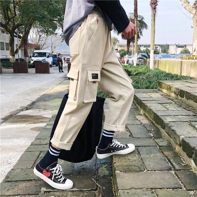 夏季工装裤男士宽松直筒潮流百搭九分裤潮牌学生休闲裤