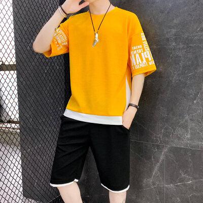 2019夏季新款男士短袖t恤潮流衣服男装一套搭配帅气休闲套装