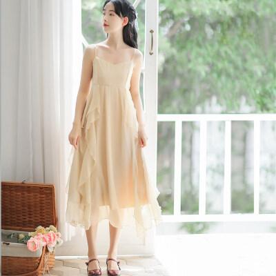 定价不低于89 法式超仙小众雪纺吊带裙