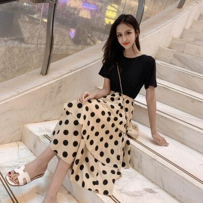 很仙的法国小众桔梗裙子仙女超仙森系2019流行夏天波点连衣裙