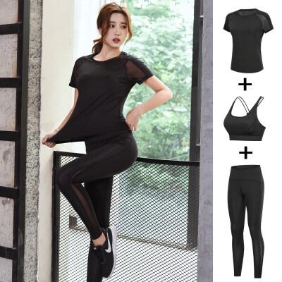 瑜伽服夏季薄款运动套装女显瘦短袖健身房跑步透气瑜珈三件套