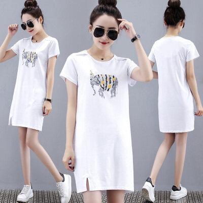 2019新款夏季女装韩版宽松中长款t恤白色短袖女休闲连衣裙