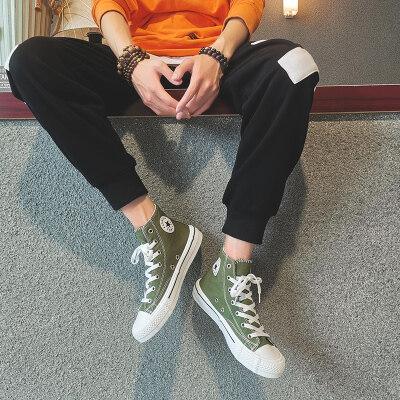 男鞋2019夏季新款高帮帆布鞋韩版潮流学生百搭透气休闲板鞋男