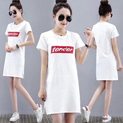 长款t恤女中长款宽松踪短袖2019新款韩版粉色大版t恤裙