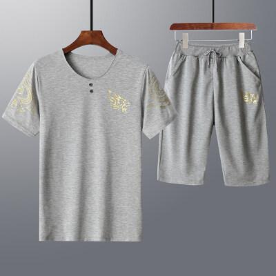 2019新款夏季运动套装男短袖圆领T恤套装韩版男式休闲套装男