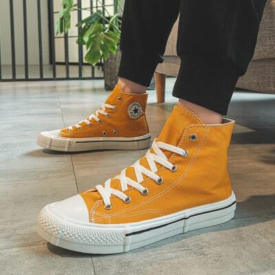 长红F805网红鞋子男潮鞋百搭新款韩版潮流帆布鞋高帮小脏橘