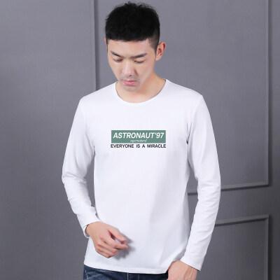 纯棉长袖T恤男秋夏新款男士韩版修身百搭休闲圆领印花薄款打底衫