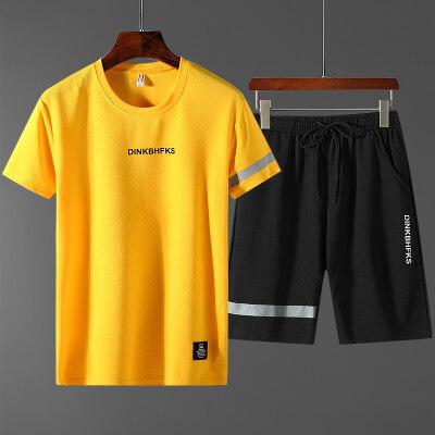 夏季休闲运动套装男士2019新款短袖t桖T恤青少年韩版两件套