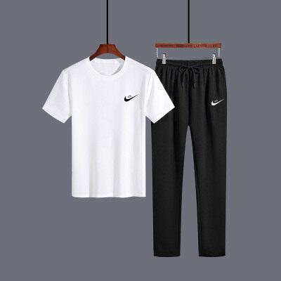 明利来中年套装 压标男士休闲运动套装 男夏季短袖短裤运动短套