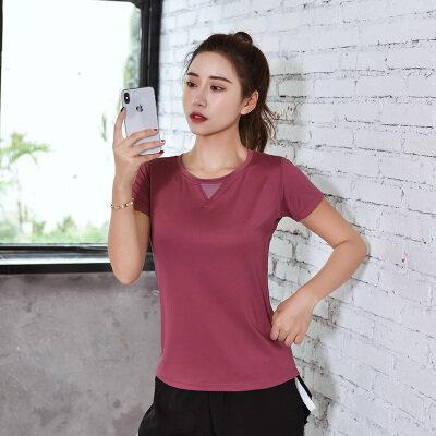 性感运动上衣女短袖速干健身房t恤跑步半袖弹力紧身衣瑜伽服夏季
