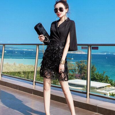 御姐范名媛黑色连衣裙2019新款夏季女装V领洋气时尚气质显瘦