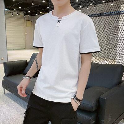 一件代发 厂家批发纯棉 短袖t恤时尚圆领宽松图案纯色2005