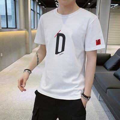 一件代发 厂家批发100棉短袖t恤时尚圆领宽松字母D的意志图案2007