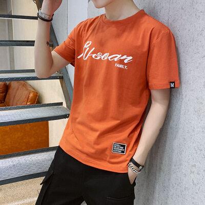 一件代发 厂家批发95棉 短袖t恤时尚圆领宽松英文字母图案1013