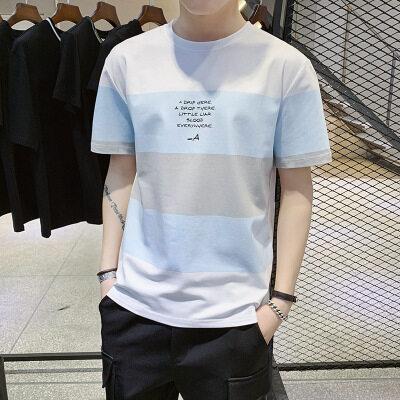 一件代发 厂家批发95棉 短袖t恤时尚圆领宽松英文字母图案1017
