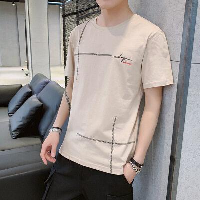 一件代发 厂家批发100棉短袖t恤时尚圆领宽松横竖图案2009