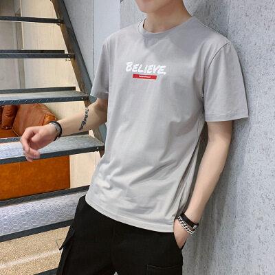 一件代发 厂家批发95棉 短袖t恤时尚圆领宽松believe图案1018