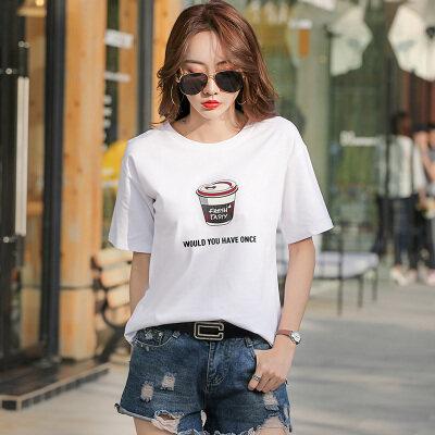一件代发女装纯棉卡通印花圆领短袖T恤女95棉 5氨纶