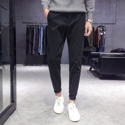 男士裤子冬季新款2018休闲裤男生韩版潮流修身小脚百搭后一字袋