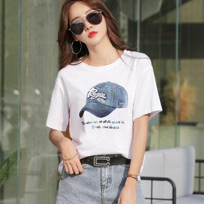 现货代发女装时尚短袖T恤女2019新款韩版宽松休闲圆领印花