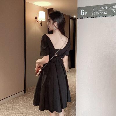 一件代发女装2019夏季小个子后背绑带方领复古显瘦气质连衣裙