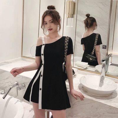 套装女2019新款韩版网红露肩T恤短裤洋气显瘦气质时尚两件套