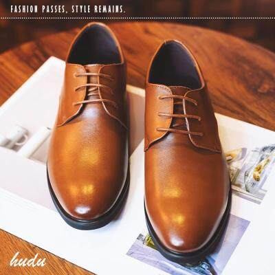皮鞋男商务正装真皮内增高男士黑色夏季透气韩版休闲青少年布洛克
