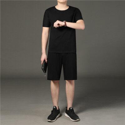 纯棉中老年夏季短袖短裤休闲运动套装爸爸装